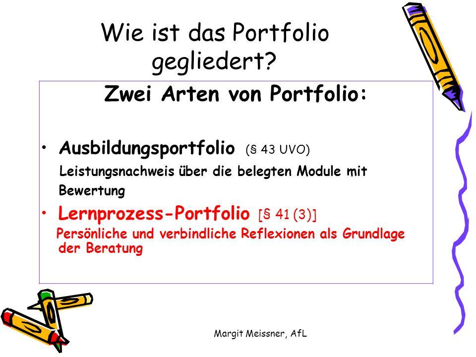 Margit Meissner, AfL Wie ist das Portfolio gegliedert.