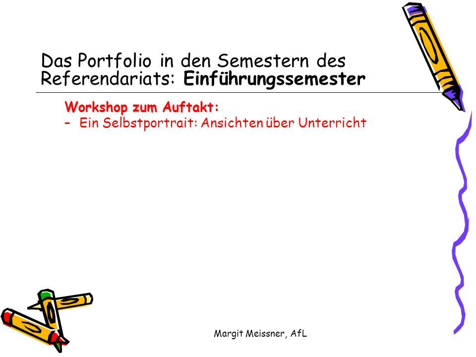 Margit Meissner, AfL Das Portfolio in den Semestern des Referendariats: Einführungssemester Workshop zum Auftakt: –Ein Selbstportrait: Ansichten über Unterricht