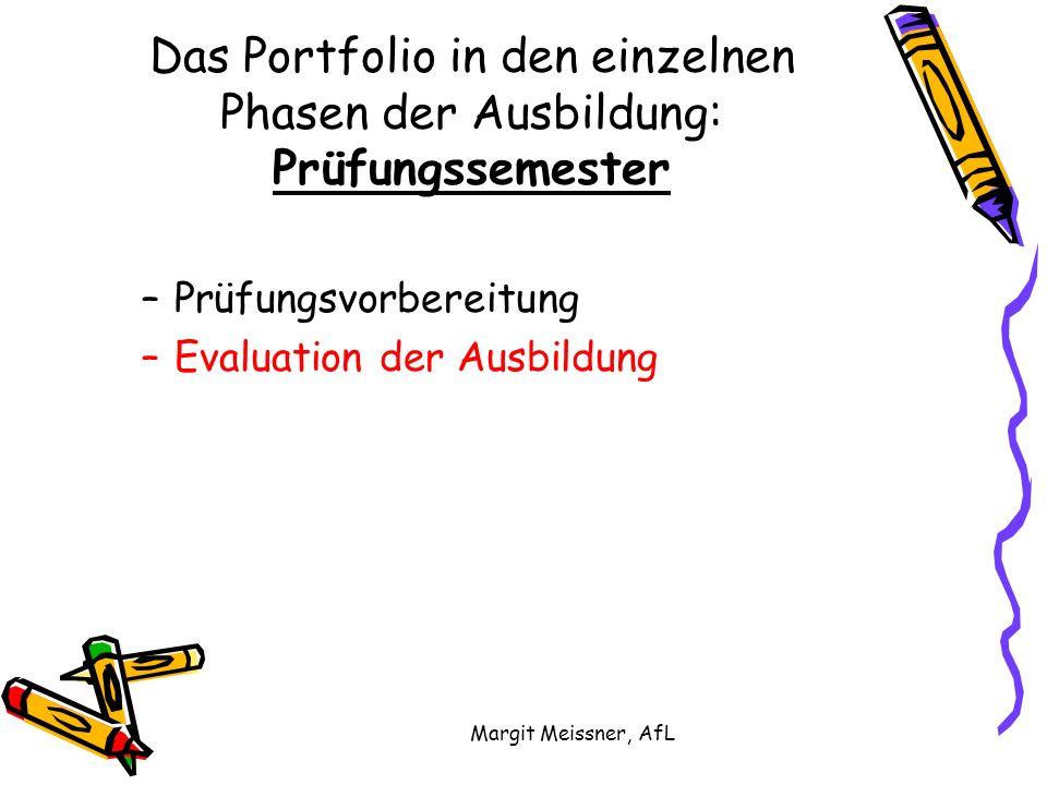 Margit Meissner, AfL Das Portfolio in den einzelnen Phasen der Ausbildung: Prüfungssemester –Prüfungsvorbereitung –Evaluation der Ausbildung
