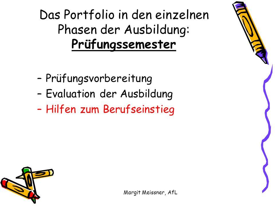 Margit Meissner, AfL Das Portfolio in den einzelnen Phasen der Ausbildung: Prüfungssemester –Prüfungsvorbereitung –Evaluation der Ausbildung –Hilfen z