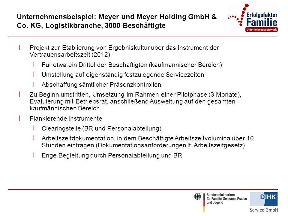 Unternehmensbeispiel: Meyer und Meyer Holding GmbH & Co. KG, Logistikbranche, 3000 Beschäftigte ׀ Projekt zur Etablierung von Ergebniskultur über das