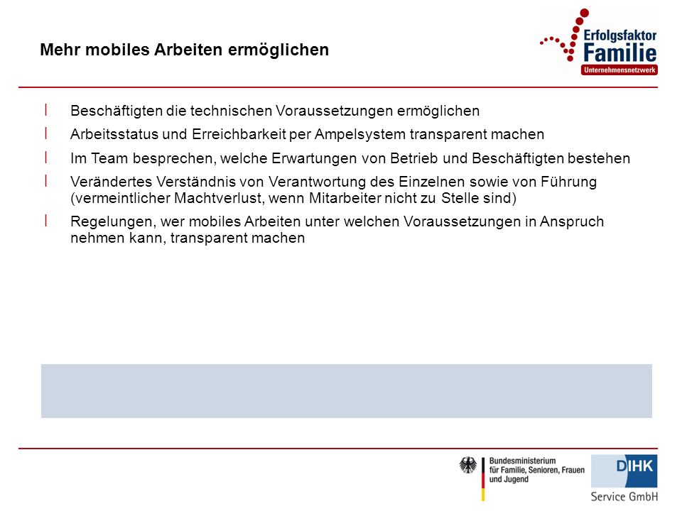 Mehr mobiles Arbeiten ermöglichen ׀ Beschäftigten die technischen Voraussetzungen ermöglichen ׀ Arbeitsstatus und Erreichbarkeit per Ampelsystem trans