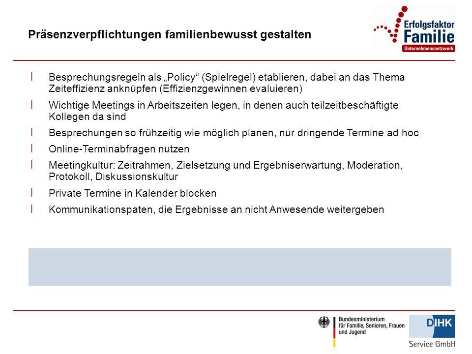 Präsenzverpflichtungen familienbewusst gestalten ׀ Besprechungsregeln als Policy (Spielregel) etablieren, dabei an das Thema Zeiteffizienz anknüpfen (