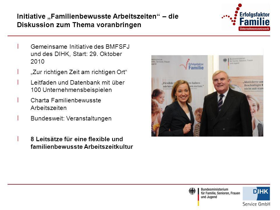 Initiative Familienbewusste Arbeitszeiten – die Diskussion zum Thema voranbringen ׀ Gemeinsame Initiative des BMFSFJ und des DIHK, Start: 29. Oktober
