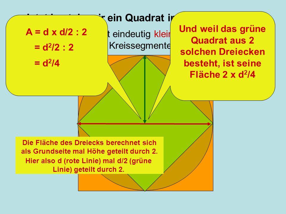 Jetzt basteln wir ein Quadrat in den Kreis hinein: Diese Fläche ist eindeutig kleiner als der Kreis: Die braunen Kreissegmente stehen über. Und weil d