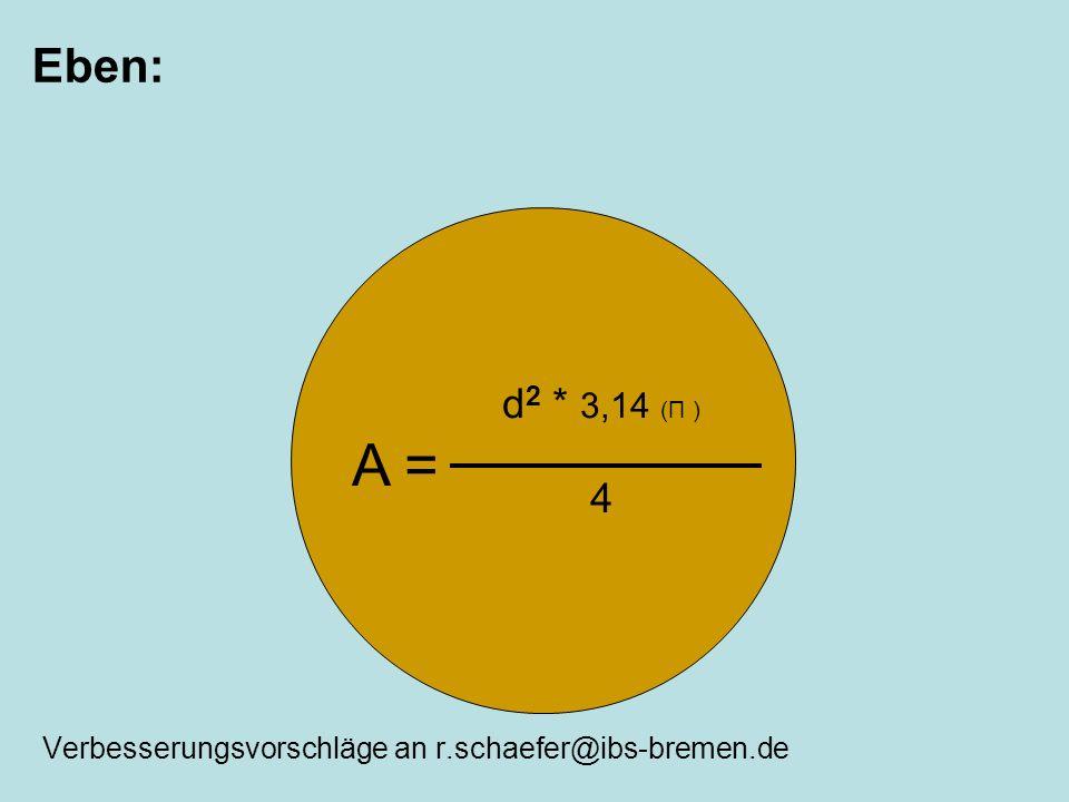 Eben: Verbesserungsvorschläge an r.schaefer@ibs-bremen.de A = d 2 * 3,14 (Π ) 4