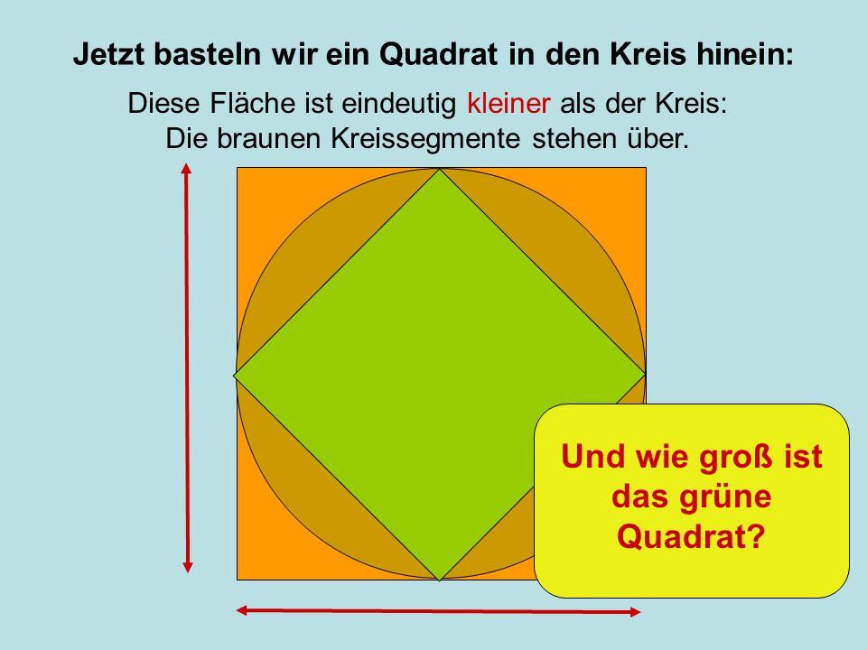 Jetzt basteln wir ein Quadrat in den Kreis hinein: Diese Fläche ist eindeutig kleiner als der Kreis: Die braunen Kreissegmente stehen über. Und wie gr