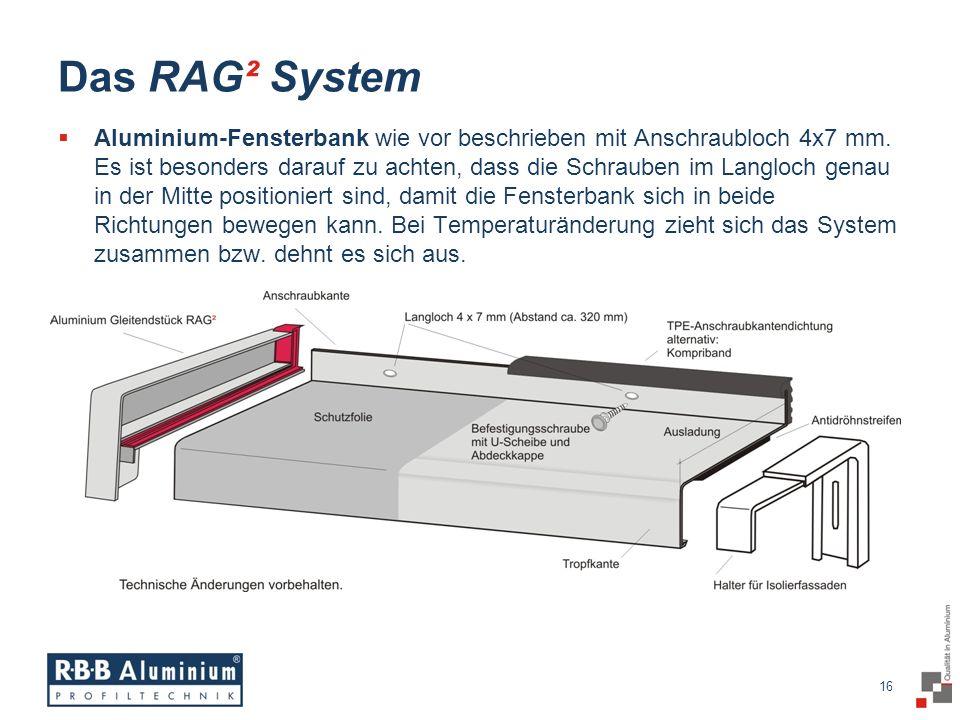 16 / 20 16 Das RAG² System Aluminium-Fensterbank wie vor beschrieben mit Anschraubloch 4x7 mm.