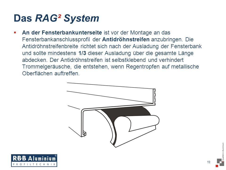 19 / 20 19 Das RAG² System An der Fensterbankunterseite ist vor der Montage an das Fensterbankanschlussprofil der Antidröhnstreifen anzubringen.