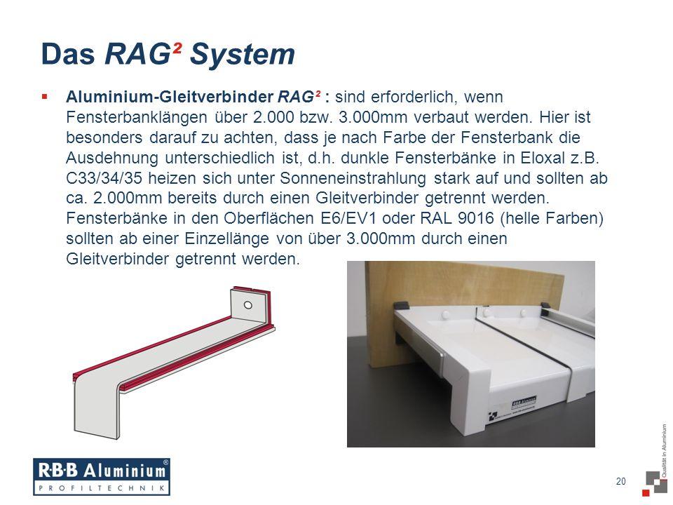 20 / 20 20 Das RAG² System Aluminium-Gleitverbinder RAG² : sind erforderlich, wenn Fensterbanklängen über 2.000 bzw.