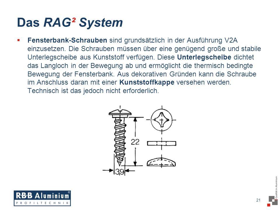 21 / 20 21 Das RAG² System Fensterbank-Schrauben sind grundsätzlich in der Ausführung V2A einzusetzen.