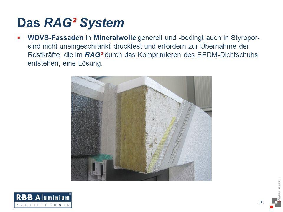 26 / 20 26 Das RAG² System WDVS-Fassaden in Mineralwolle generell und -bedingt auch in Styropor- sind nicht uneingeschränkt druckfest und erfordern zur Übernahme der Restkräfte, die im RAG² durch das Komprimieren des EPDM-Dichtschuhs entstehen, eine Lösung.