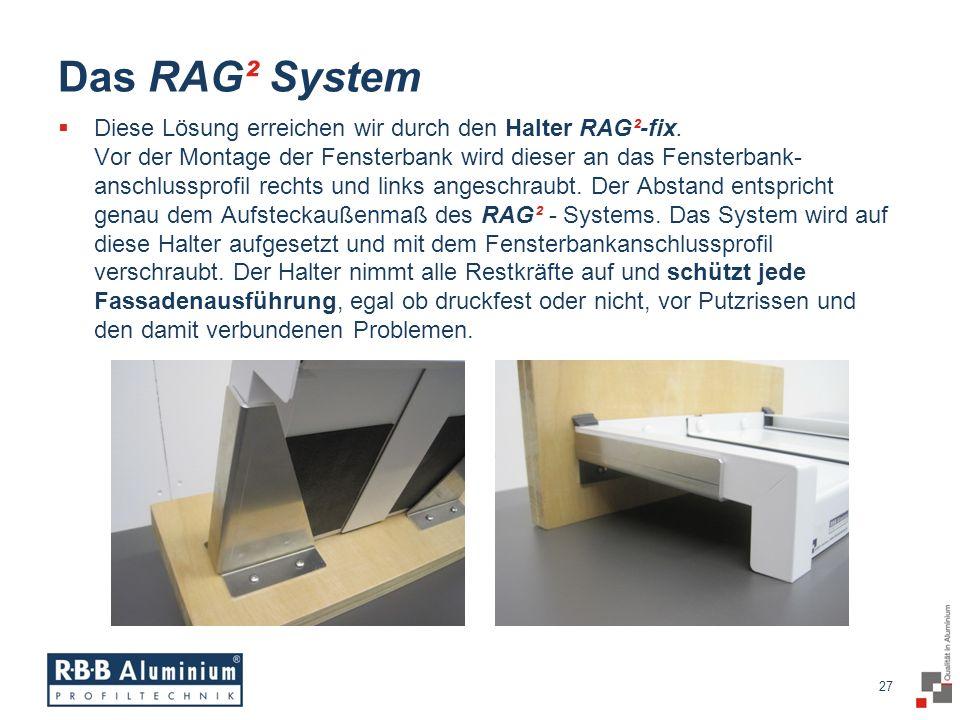 27 / 20 27 Das RAG² System Diese Lösung erreichen wir durch den Halter RAG²-fix.