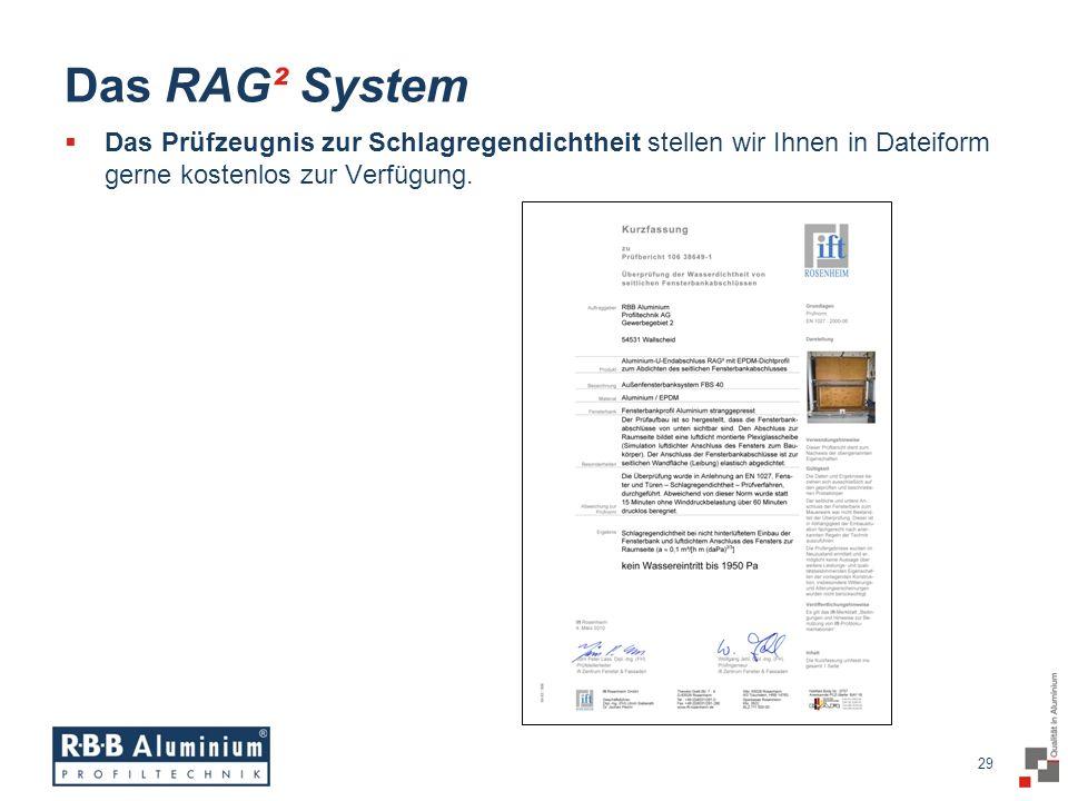 29 / 20 29 Das RAG² System Das Prüfzeugnis zur Schlagregendichtheit stellen wir Ihnen in Dateiform gerne kostenlos zur Verfügung.