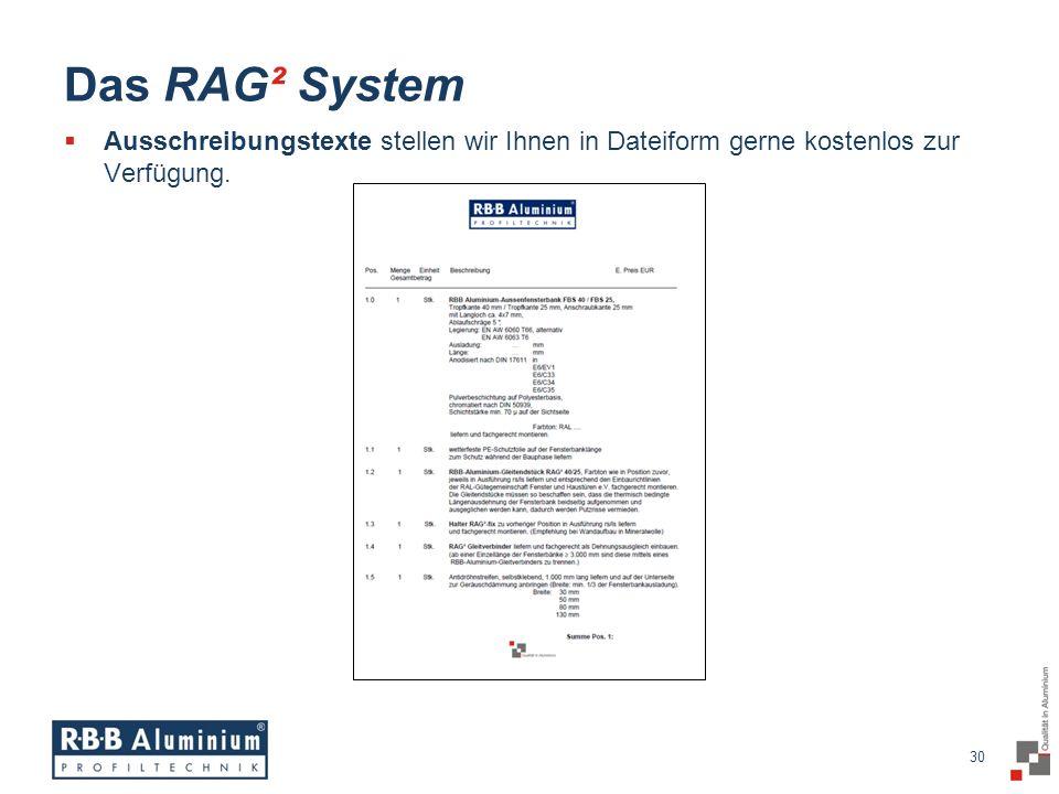 30 / 20 30 Das RAG² System Ausschreibungstexte stellen wir Ihnen in Dateiform gerne kostenlos zur Verfügung.