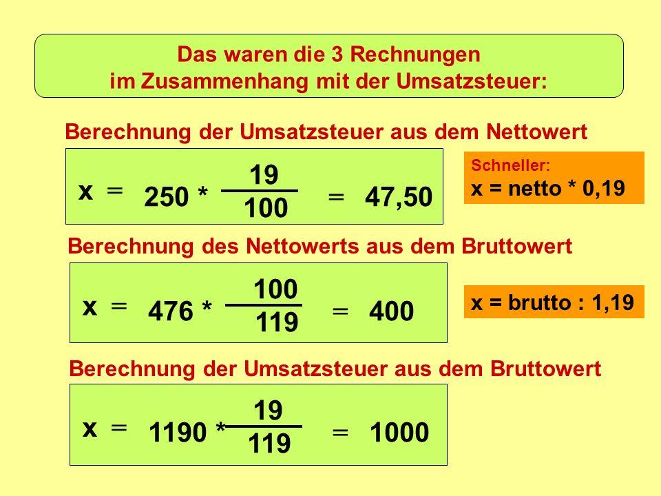 Das waren die 3 Rechnungen im Zusammenhang mit der Umsatzsteuer: Berechnung der Umsatzsteuer aus dem Nettowert Berechnung des Nettowerts aus dem Bruttowert Berechnung der Umsatzsteuer aus dem Bruttowert x = 250 * 19 100 = 47,50 x = 476 * 100 119 = 400 x = 1190 * 19 119 = 1000 x = netto * 0,19 x = brutto : 1,19 Schneller: