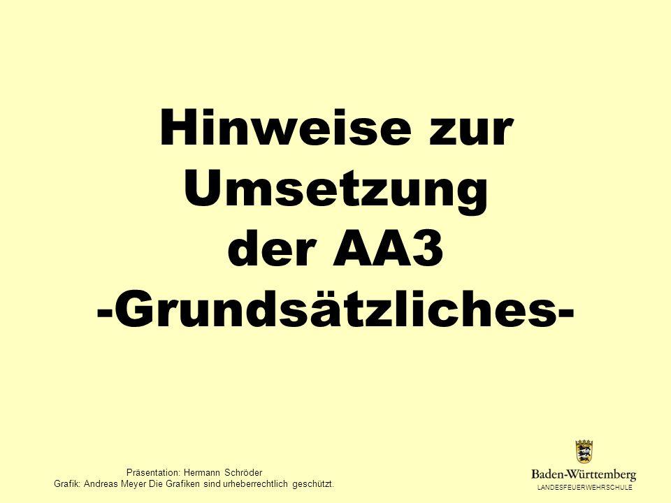 LANDESFEUERWEHRSCHULE Hinweise zur Umsetzung der AA3 -Grundsätzliches- Präsentation: Hermann Schröder Grafik: Andreas Meyer Die Grafiken sind urheberr