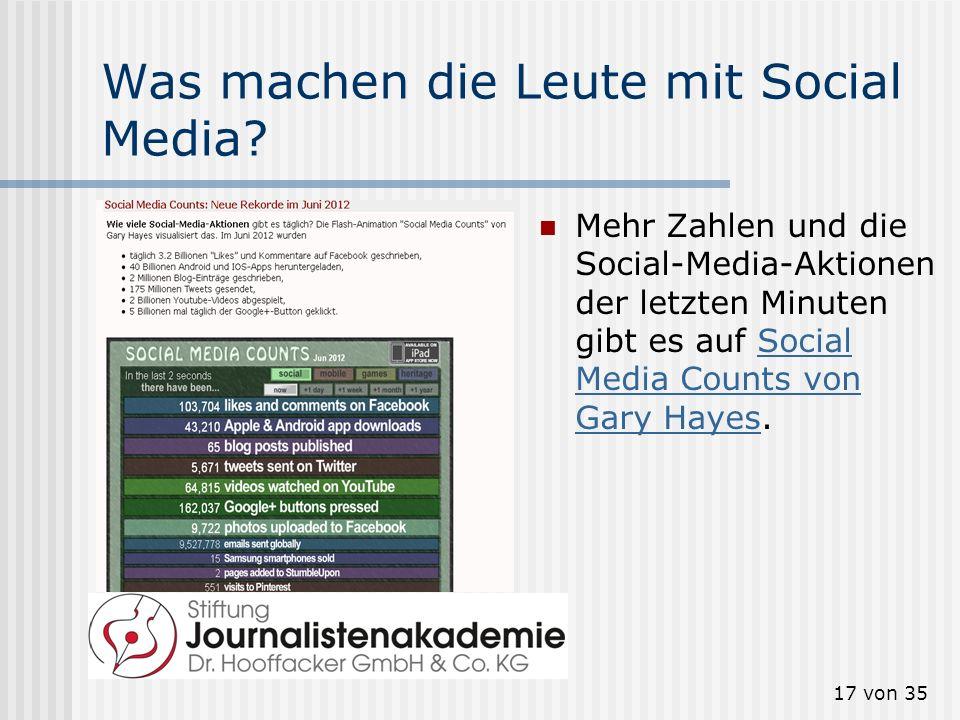 17 von 35 Was machen die Leute mit Social Media? Mehr Zahlen und die Social-Media-Aktionen der letzten Minuten gibt es auf Social Media Counts von Gar
