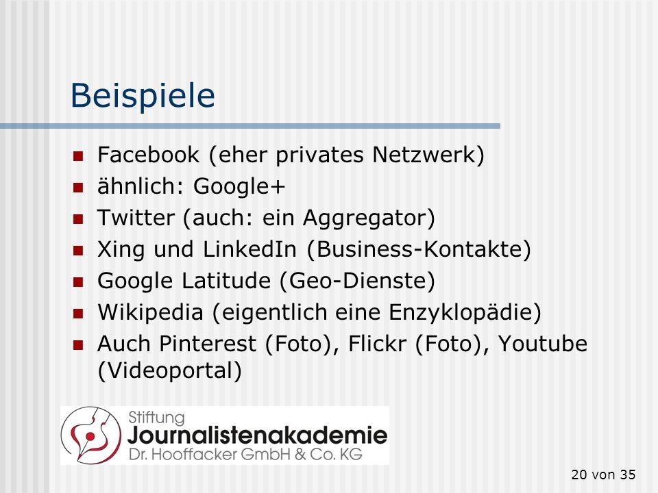 20 von 35 Beispiele Facebook (eher privates Netzwerk) ähnlich: Google+ Twitter (auch: ein Aggregator) Xing und LinkedIn (Business-Kontakte) Google Lat