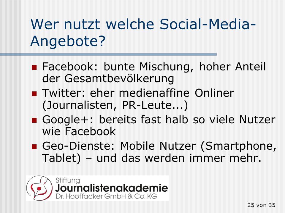 25 von 35 Wer nutzt welche Social-Media- Angebote? Facebook: bunte Mischung, hoher Anteil der Gesamtbevölkerung Twitter: eher medienaffine Onliner (Jo