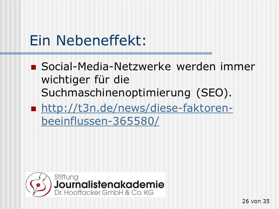 26 von 35 Ein Nebeneffekt: Social-Media-Netzwerke werden immer wichtiger für die Suchmaschinenoptimierung (SEO). http://t3n.de/news/diese-faktoren- be