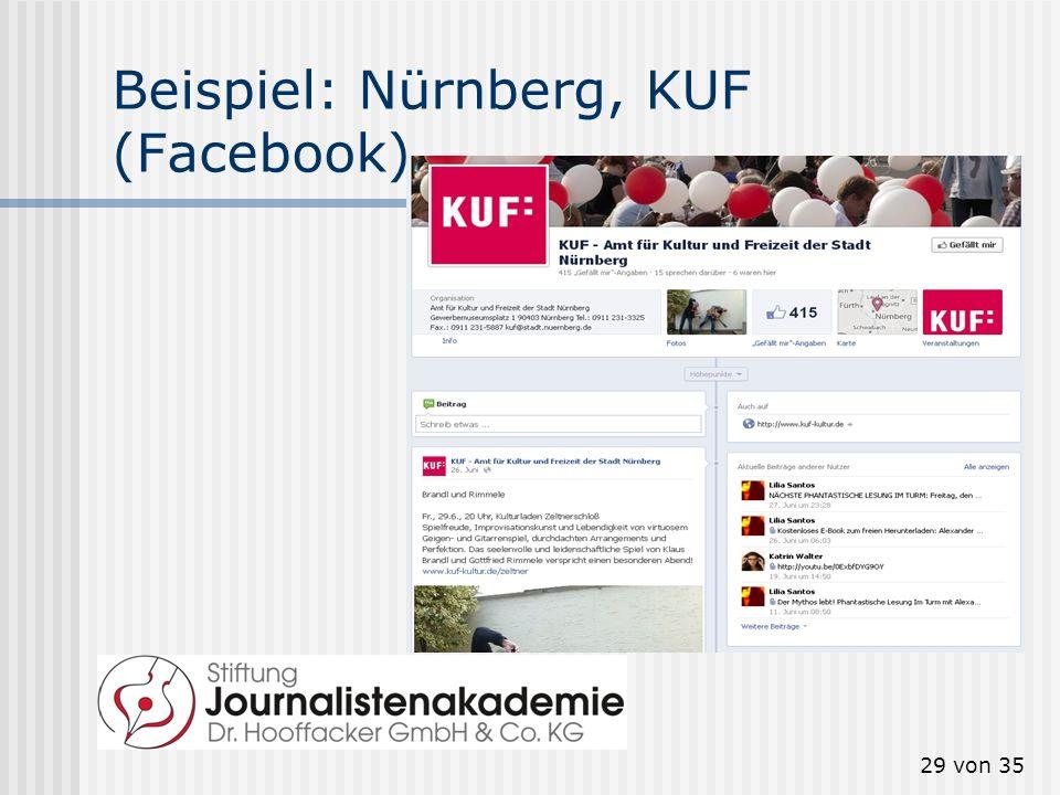 29 von 35 Beispiel: Nürnberg, KUF (Facebook)