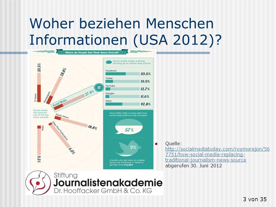 3 von 35 Woher beziehen Menschen Informationen (USA 2012)? Quelle: http://socialmediatoday.com/roymorejon/56 7751/how-social-media-replacing- traditio