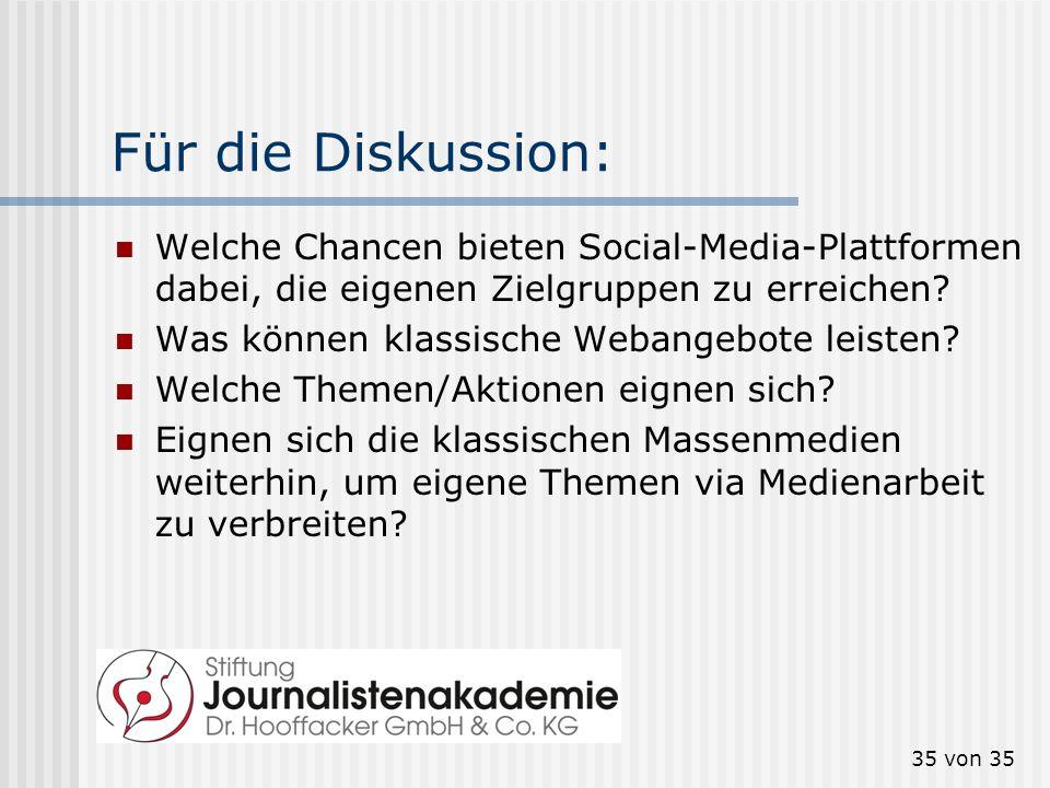 35 von 35 Für die Diskussion: Welche Chancen bieten Social-Media-Plattformen dabei, die eigenen Zielgruppen zu erreichen? Was können klassische Webang
