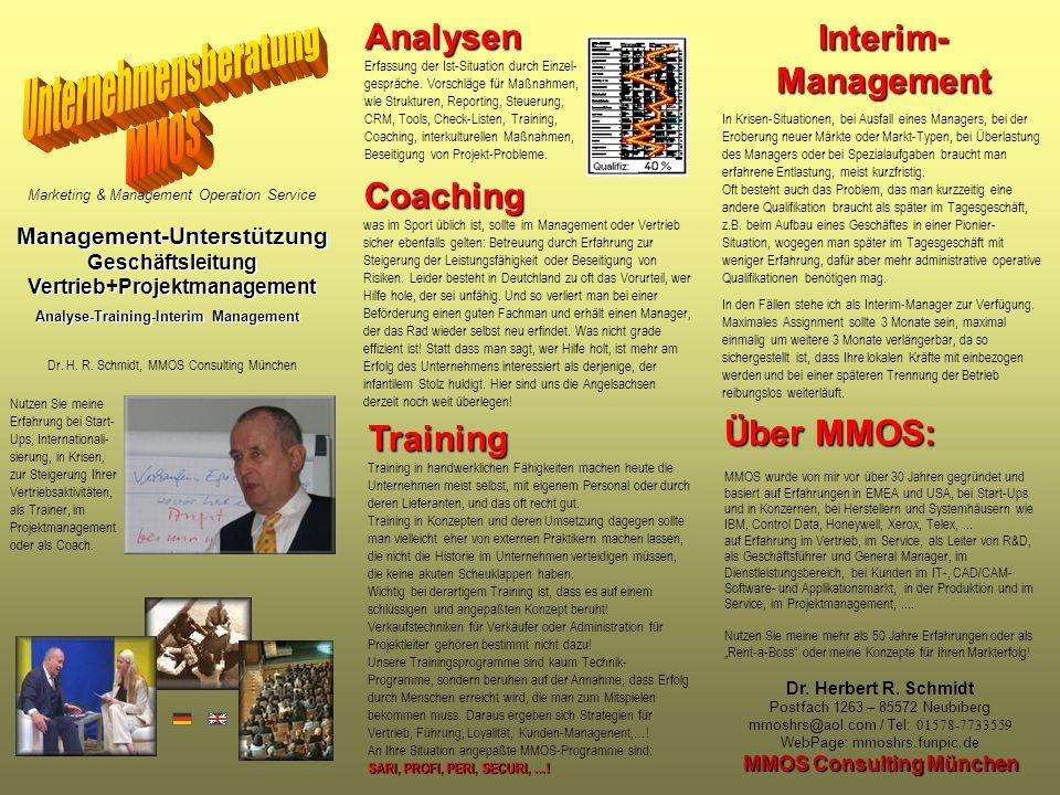 Marketing & Management Operation Service Management-Unterstützung Geschäftsleitung Vertrieb+Projektmanagement Analyse-Training-Interim Management Dr.