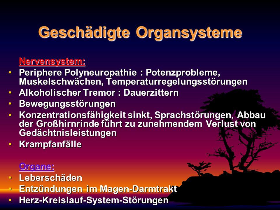 Geschädigte Organsysteme Nervensystem: Periphere Polyneuropathie : Potenzprobleme, Muskelschwächen, TemperaturregelungsstörungenPeriphere Polyneuropat