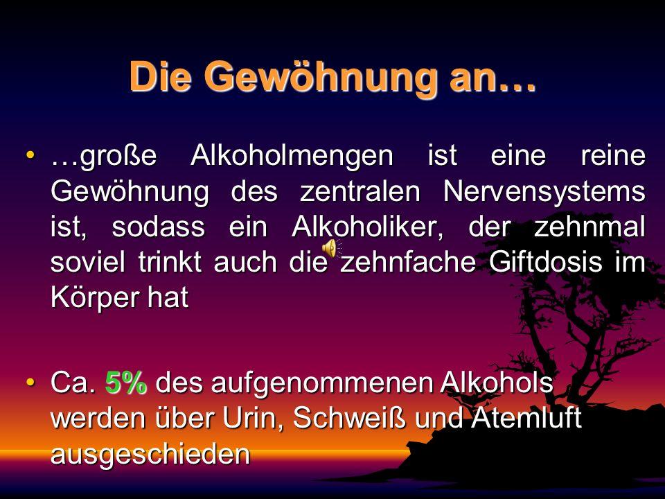 Die Gewöhnung an… …große Alkoholmengen ist eine reine Gewöhnung des zentralen Nervensystems ist, sodass ein Alkoholiker, der zehnmal soviel trinkt auch die zehnfache Giftdosis im Körper hat…große Alkoholmengen ist eine reine Gewöhnung des zentralen Nervensystems ist, sodass ein Alkoholiker, der zehnmal soviel trinkt auch die zehnfache Giftdosis im Körper hat Ca.