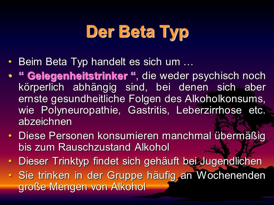 Der Beta Typ Beim Beta Typ handelt es sich um …Beim Beta Typ handelt es sich um … Gelegenheitstrinker, die weder psychisch noch körperlich abhängig sind, bei denen sich aber ernste gesundheitliche Folgen des Alkoholkonsums, wie Polyneuropathie, Gastritis, Leberzirrhose etc.