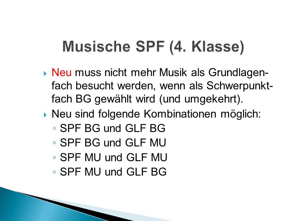 Neu muss nicht mehr Musik als Grundlagen- fach besucht werden, wenn als Schwerpunkt- fach BG gewählt wird (und umgekehrt).