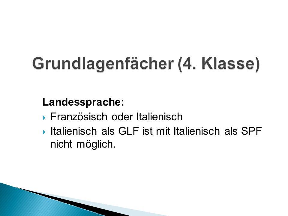 Landessprache: Französisch oder Italienisch Italienisch als GLF ist mit Italienisch als SPF nicht möglich.