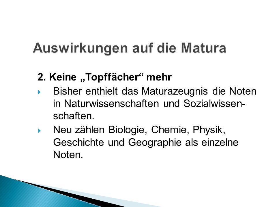 2. Keine Topffächer mehr Bisher enthielt das Maturazeugnis die Noten in Naturwissenschaften und Sozialwissen- schaften. Neu zählen Biologie, Chemie, P