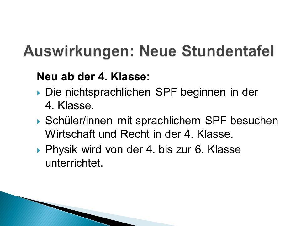Neu ab der 4. Klasse: Die nichtsprachlichen SPF beginnen in der 4.