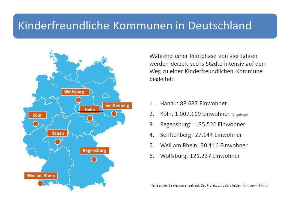 Während einer Pilotphase von vier Jahren werden derzeit sechs Städte intensiv auf dem Weg zu einer Kinderfreundlichen Kommune begleitet: 1.Hanau: 88.637 Einwohner 2.Köln: 1.007.119 Einwohner (angefragt) 3.Regensburg: 135.520 Einwohner 4.Senftenberg: 27.144 Einwohner 5.Weil am Rhein: 30.116 Einwohner 6.Wolfsburg: 121.237 Einwohner (Halle an der Saale, war angefragt.