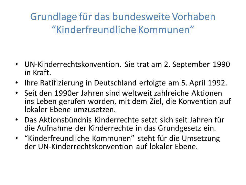 Grundlage für das bundesweite Vorhaben Kinderfreundliche Kommunen UN-Kinderrechtskonvention.