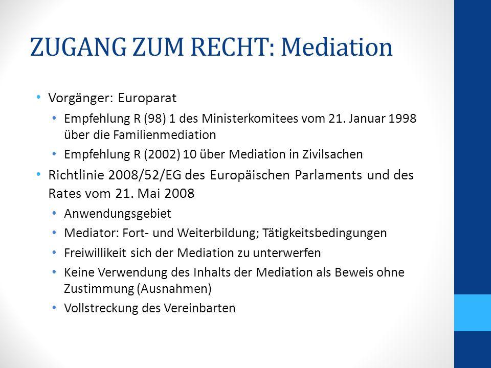 ZUGANG ZUM RECHT: Rechtskostenhilfe Recht auf einen wirksamen Rechtsbehelf und ein faires Verfahren Bi- und multilaterale Vorgänger Haager Übereinkommen vom 25.