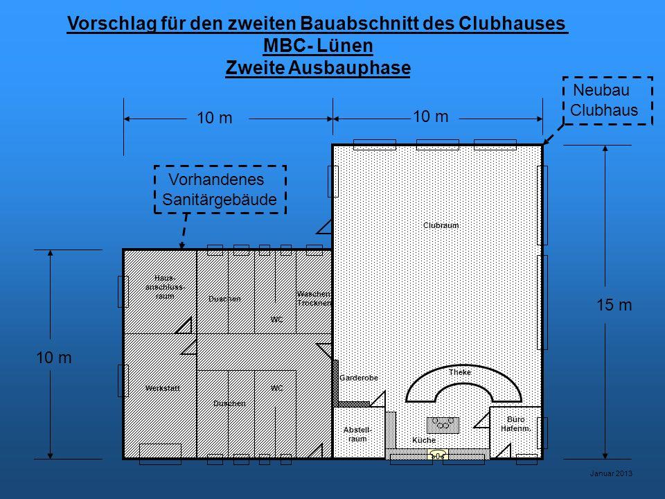 Vorschlag für den zweiten Bauabschnitt des Clubhauses MBC- Lünen Zweite Ausbauphase Januar 2013 Werkstatt Haus- anschluss- raum WC Duschen Waschen Trocknen Abstell- raum Küche Büro Hafenm.