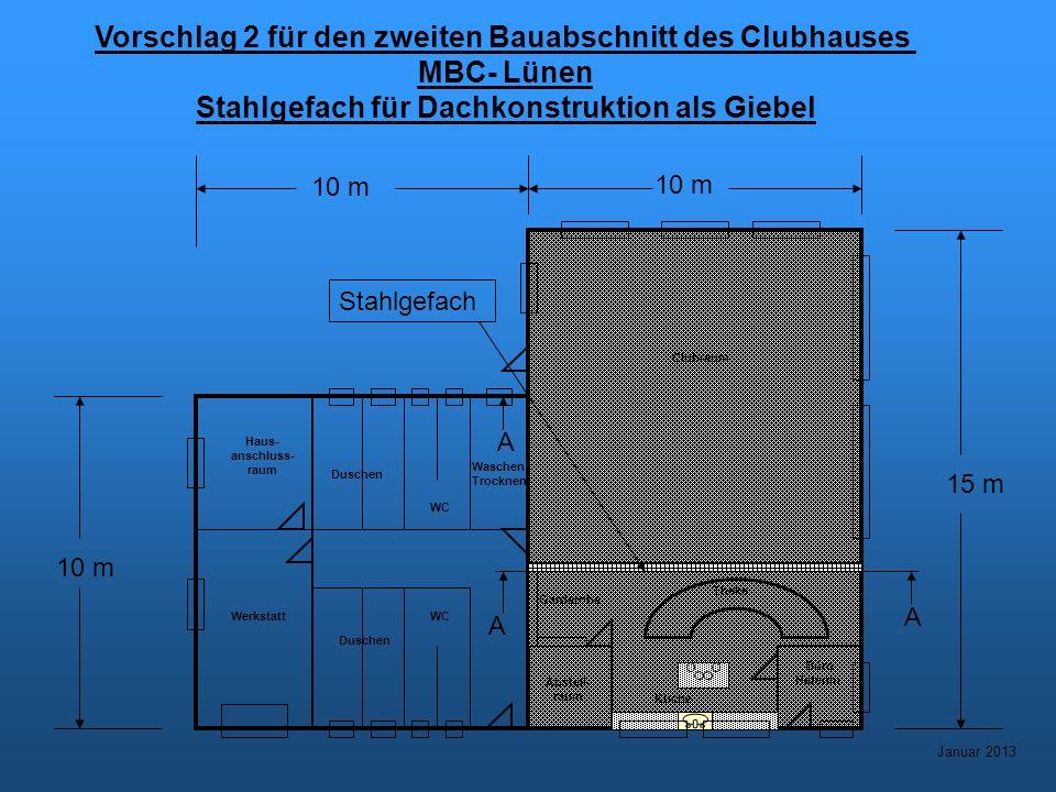 Vorschlag 2 für den zweiten Bauabschnitt des Clubhauses MBC- Lünen Stahlgefach für Dachkonstruktion als Giebel Januar 2013 Werkstatt Haus- anschluss- raum WC Duschen Waschen Trocknen Abstell- raum Küche Büro Hafenm.