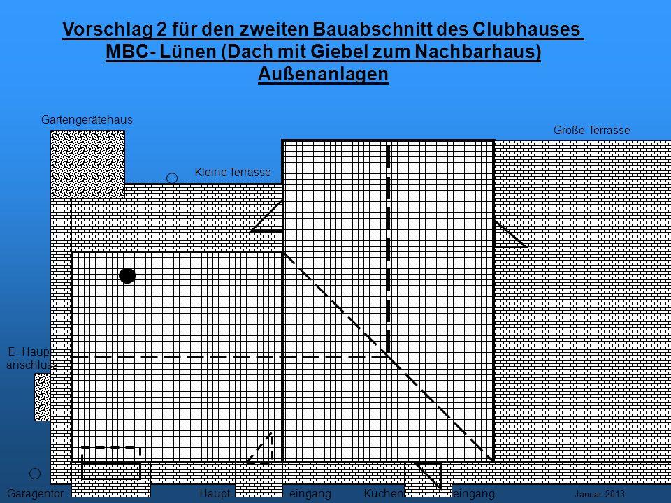 Vorschlag 2 für den zweiten Bauabschnitt des Clubhauses MBC- Lünen (Dach mit Giebel zum Nachbarhaus) Außenanlagen Gartengerätehaus Große Terrasse Kleine Terrasse E- Haupt- anschluss GaragentoreingangHaupt-eingangKüchen- Januar 2013