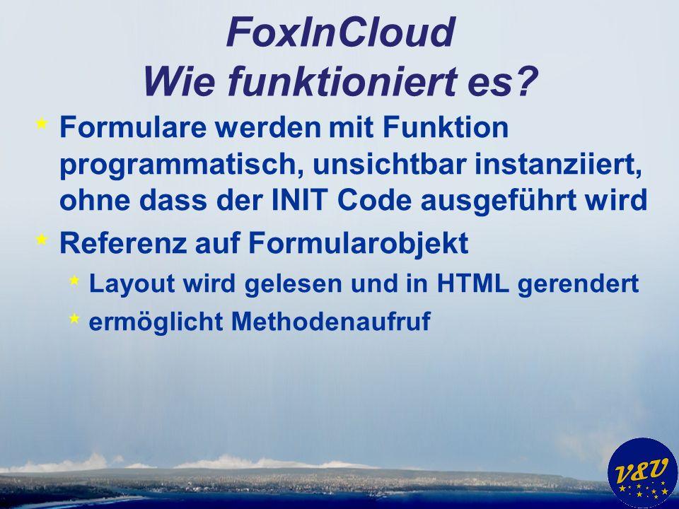 FoxInCloud Wie funktioniert es? * Formulare werden mit Funktion programmatisch, unsichtbar instanziiert, ohne dass der INIT Code ausgeführt wird * Ref