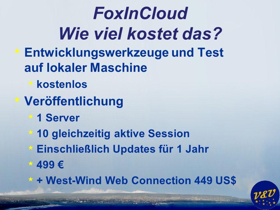 FoxInCloud Wie viel kostet das? * Entwicklungswerkzeuge und Test auf lokaler Maschine * kostenlos * Veröffentlichung * 1 Server * 10 gleichzeitig akti