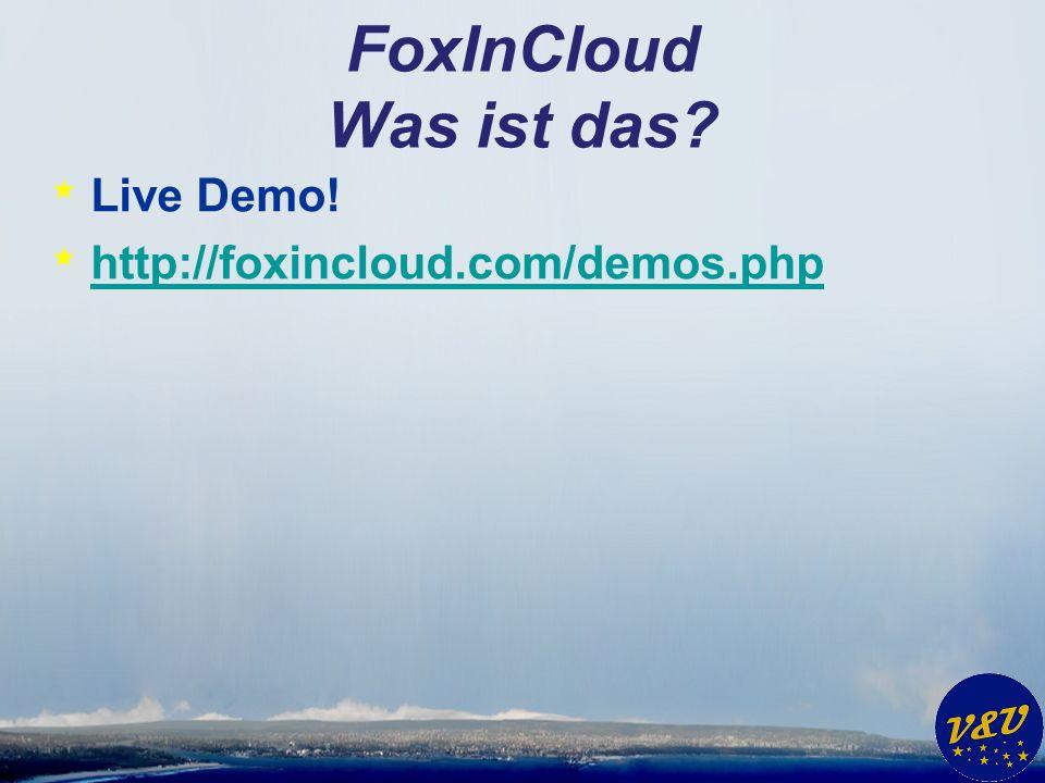 FoxInCloud Was ist das? * Live Demo! * http://foxincloud.com/demos.php http://foxincloud.com/demos.php