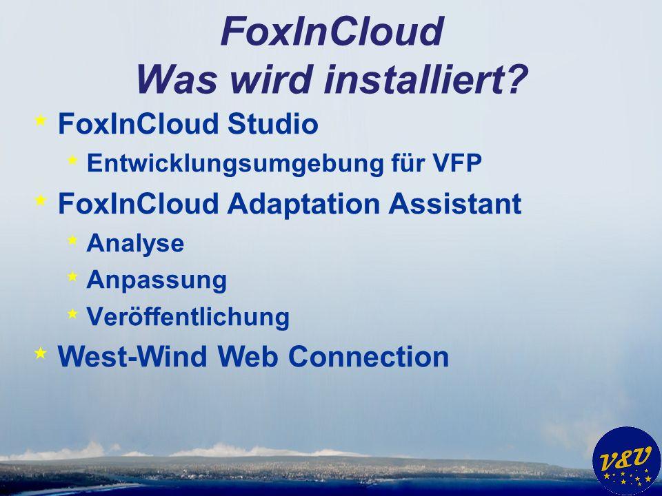 FoxInCloud Was wird installiert? * FoxInCloud Studio * Entwicklungsumgebung für VFP * FoxInCloud Adaptation Assistant * Analyse * Anpassung * Veröffen