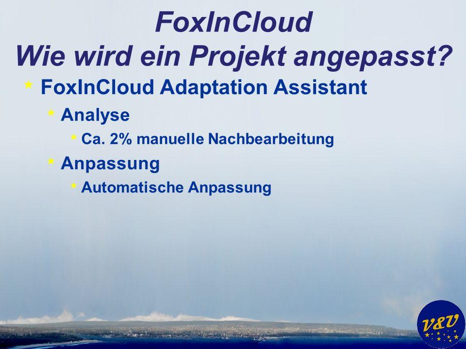 FoxInCloud Wie wird ein Projekt angepasst? * FoxInCloud Adaptation Assistant * Analyse * Ca. 2% manuelle Nachbearbeitung * Anpassung * Automatische An
