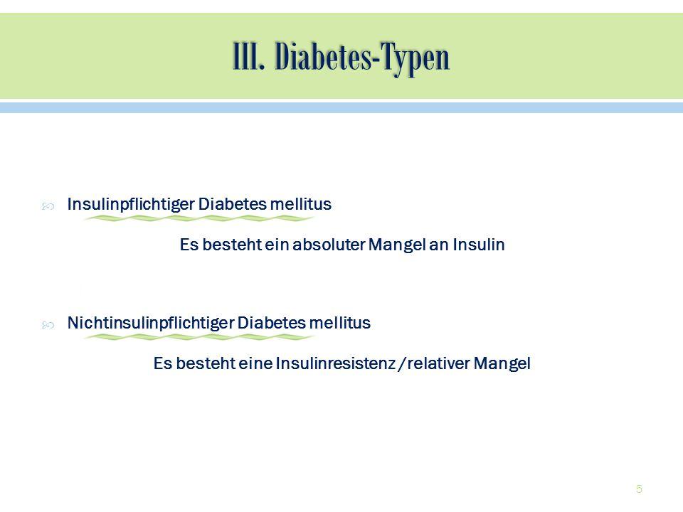 Insulinpflichtiger Diabetes mellitus Es besteht ein absoluter Mangel an Insulin Nichtinsulinpflichtiger Diabetes mellitus Es besteht eine Insulinresis