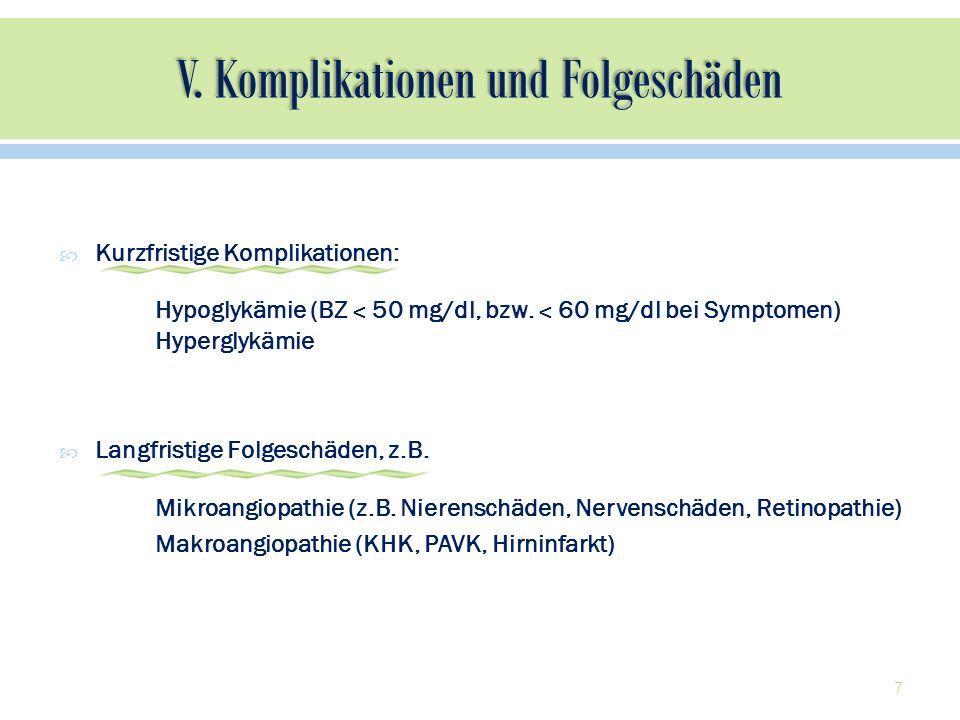 7 Kurzfristige Komplikationen: Hypoglykämie (BZ ˂ 50 mg/dl, bzw. ˂ 60 mg/dl bei Symptomen) Hyperglykämie Langfristige Folgeschäden, z.B. Mikroangiopat