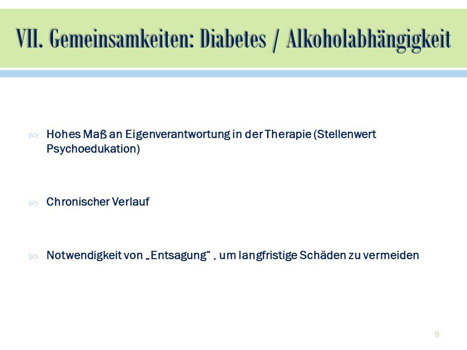 Hohes Maß an Eigenverantwortung in der Therapie (Stellenwert Psychoedukation) Chronischer Verlauf Notwendigkeit von Entsagung, um langfristige Schäden